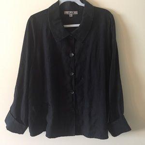 Flax Lagen Look Size Medium Jacket Black  Linen